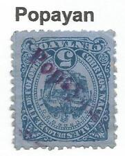 timbres-Colombie. 1883. 5c Blue sur Bleu. SG: 109. «Popayan» Ligne Droite