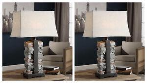 """PAIR KODIAK 29"""" MOLDED CONCRETE STACKED STONES DESIGN TABLE LAMP UTTERMOST 27806"""