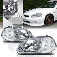 Chrome Housing Headlight Clear Corner Signal Reflector for 96-98 Honda Civic
