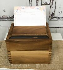Ironwood Gourmet SAUGATUCK RECIPE BOX Wooden Storage Acacia Brown w/ Cards