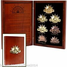 Anzac Day The History of the Rising Sun 7 Piece Hat Badge Collection