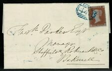 1841 ONE PENNY RED 1d ON COVER CANCELLED BY THE BRIGHT BLUE NUMERAL 448 FOR LEEK