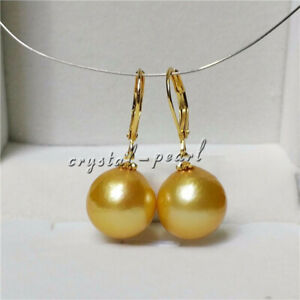 Huge AAA 13-12m Yellow South Sea Pearl Dangle Earring 14k Gold