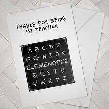 Funny Best Teacher CARD Cheeky Joke ABC thanks thank you help cards
