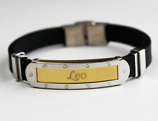 LEO - Bracelet With Name - Mens Silicone & Gold Tone Engraved - Gifts For Him