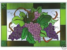 20x14 PURPLE GRAPES Fruit Stained Art Glass Suncatcher