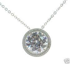 Joseph Esposito Diamonique Solid 925 Sterling Silver Bezel Set Pendant Necklace'