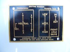 Military vehicle shifting diagram(brass plate ) mid 1940's to1950's