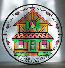 """""""WELCOME"""" Stained Glass Suncatcher Home Hearts Scrolls 8 1/8"""" Multi-Color Round"""