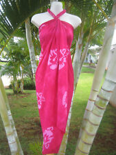 Hawaii Sarong Plus Size Pink Hibiscus Coverup Pareo Beach Pool Cruise Wrap Dress