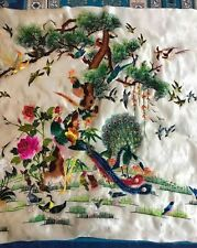 """Antique Chinese Hand Embroidery Panel Wall Hanging 21"""" By 37"""""""