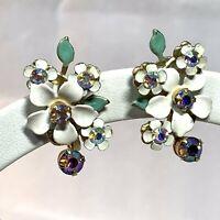 VINTAGE Enamel Rhinestone FLOWER SPRAY EARRINGS Aurora Borealis White SCREW BACK