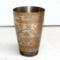 1910s Old Antique Beautiful Floral Hand Carved Design Water Drinking Glass Cup