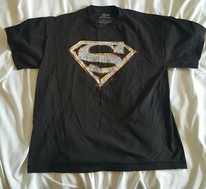 Superman Diamonds Short Sleeve T Shirt Large Black Super Hero Justice League