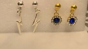 Silver N Blue Earring Collection for Tonner or Gene Doll