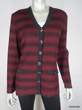 ST JOHN 6 Striped Textured Ribbed Knit Wine Black Luxury Cardigan Sweater EUC