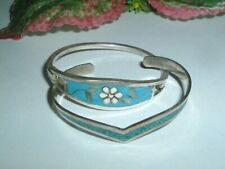 Pair Vintage Mexican Alpaca Silver Turquoise Childs Girls Bracelets in Gift Box