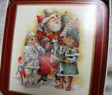 NIB Father Christmas Pimpernel Coasters Cork Back Deluxe Finish Set of 6
