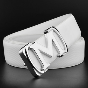 High Quality Genuine Leather M Style Buckle Belt Women Men Leather Waist Strap