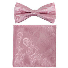 Light Pink Paisley Pre-tied Bow tie and Pocket Square Hanky Formal Party Wedding
