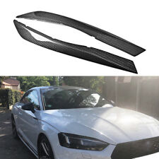 For AUDI A5 S5 RS5 2017 2018 Headlight Eyebrow Eyelid Cover Trim Dry Carbon