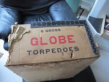 Rare Globe Torpedo Firecracker Firework Label Box Shipping Carton  5 Gross 40s