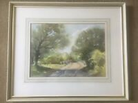Watercolour Country Scene Woods With Bridge Trees Signe F J James Mounted Framed