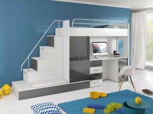 Kinderzimmer, komplett, Schreibtisch, Hochbett, Schrank, Treppe, Stauraum. TOP!