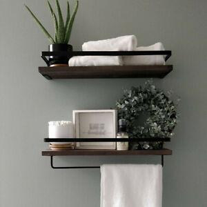 2 Set Rustic Floating Wall Shelves Bathroom Utility Decorative Rack w/ Towel Rod