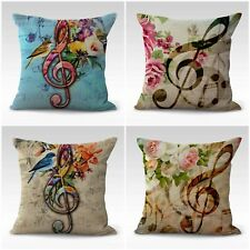 Us Seller- 4pcs cushion covers music note flower decorative pillows and throws
