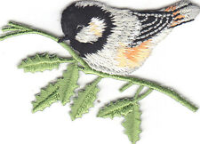 BIRD - CHICKADEE ON BRANCH - FACING LEFT - Iron On Embroidered Applique