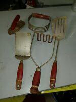 Antique Red Handled Kitchen Utensils Set Lot of 5