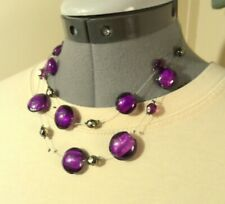 Double Layer Strand Wire Bead Necklace Purple Glass beads Silver faceted Choker