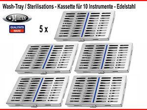 5 x 10er Instrumentenkassette  Container Wash -Steri Tray- zweiteilig - trennbar
