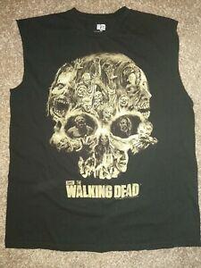 THE Walking DEAD AMC Skull Sleeveless Men's T-Shirt Rick Grimes Daryl Dixon EUC*