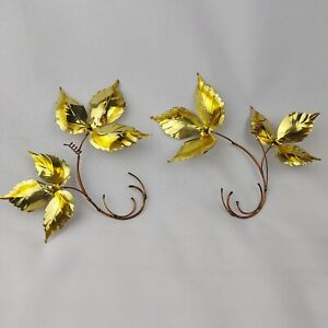 2 Vintage Wall Hanging Brass Copper Leaves Metal Art Sculpture MCM