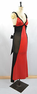SALE NEW SEXY BLACK & RED BUSTLE SATIN BOW GOWN DRESS S M 8 10 CLUBWEAR SEQUIN