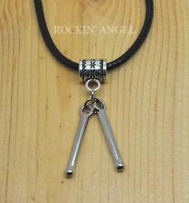 Rhodium Plated Drum Sticks Pendant  Necklace Ladies Mens Girls Boys Gift Music