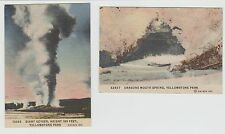 2 YELLOWSTONE NATIONAL PARK MINICARDS? GIANT GEYSER DRAGON MOUTH SPRINGS HAYNES