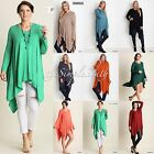 New UMGEE Extra Long Jersey Knit Legging Tunic Top Asymmetrical Shark-Bite Hem