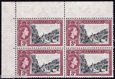 JAMAICA 1955 QE2 Founding 3d red corner Block4 MNH @B496