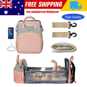 Large Changing Mummy Bag Maternity Nappy Diaper Crib Folding Baby Bed Backpack