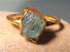 Gold plated brass ROUGH APATITE ring UK R/US 8.75. Gift Bag.