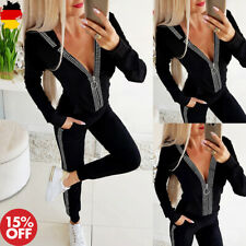 DE Damen Freizeitanzug Strass Trainingsanzug Kapuzenpullover Leggings Sportanzug