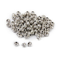 100pcs Tibetan Silver Charm Round Loose Beads Spacers Euro. Bracelet Finding