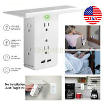 Electrical 8 Port Socket Shelf Surge Protector Wall Outlet 6 Outlet Extenders US