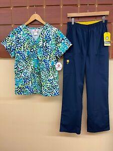 NEW Navy Blue Print Scrub Set With White Cross Medium Top & Wink Medium Pant NWT