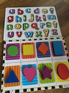 Melissa And Doug Chunky Alphabet  Shapes Wooden Puzzles X 2