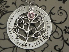 Personalised Hand Stamped Family tree any Names or Any Wording Steel Pendant