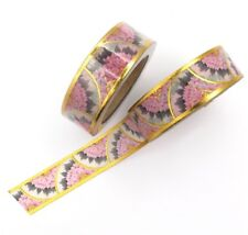 Pink Gold Foil Washi Tape Scalloped Floral Deco Flower 15mm x 10m